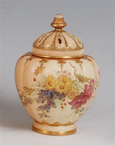 Lot 1052 - *A large Royal Worcester porcelain blush ivory...
