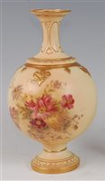 Lot 1053-*A Royal Worcester porcelain blush ivory vase,...