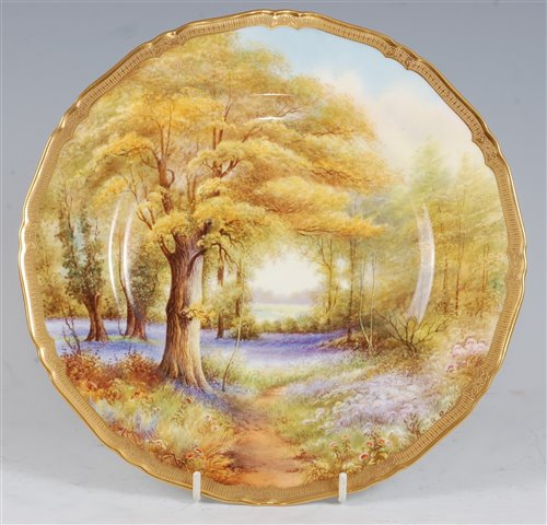 Lot 1046-*A Royal Worcester porcelain cabinet plate,...