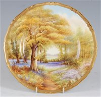 Lot 1046 - *A Royal Worcester porcelain cabinet plate,...