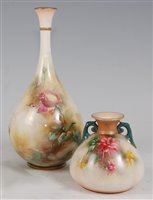 Lot 1048 - *A Hadley's Worcester bottle vase, having a...