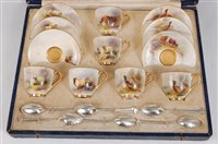 Lot 1028-*A cased matched set of Six Royal Worcester...