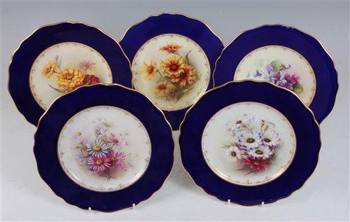 Lot 1062 - *Five Royal Worcester cabinet plates, each...