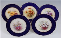 Lot 1062-*Five Royal Worcester cabinet plates, each...
