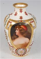 Lot 1073-*A 19th century Vienna porcelain vase, of squat...