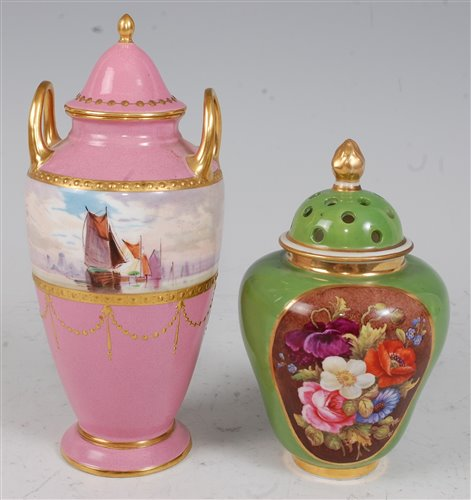 Lot 1071 - *A Minton porcelain twin handled vase and...