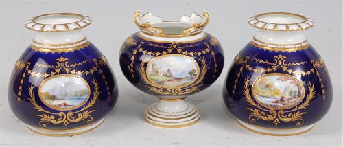 Lot 1067 - *A Royal Crown Derby three vase garniture,...