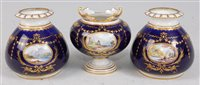 Lot 1067-*A Royal Crown Derby three vase garniture,...
