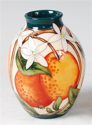 Lot 6-A Moorcroft pottery vase in the Orange Blossom...