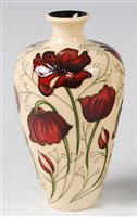 Lot 9-A Moorcroft pottery vase in the Chocolate Cosmos...