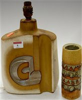 Lot 8-A mid 20th century studio pottery vase of tapered ...