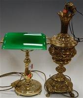Lot 13-A lacquered brass pedestal desk lamp having...