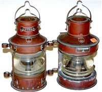 Lot 15-A copper mast head lantern together with one...
