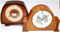 Lot 18-A 1950s Smiths oak cased mantel clock together...