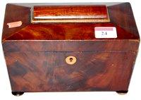 Lot 24-An early Victorian mahogany tea caddy of...