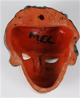 Lot 43-A 1930s Goldscheider terracotta face mask, her...