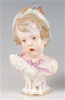 Lot 1077 - A mid-19th century Meissen porcelain bust,...