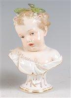 Lot 1078 - A mid-19th century Meissen porcelain bust,...