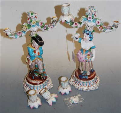 Lot 1079 - A pair of continental porcelain two-light...
