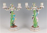 Lot 18-A pair of continental porcelain two-light...