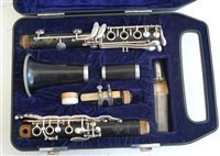 Lot 506-A cased Dynamic H clarinet, stamped LEBLANC PARIS