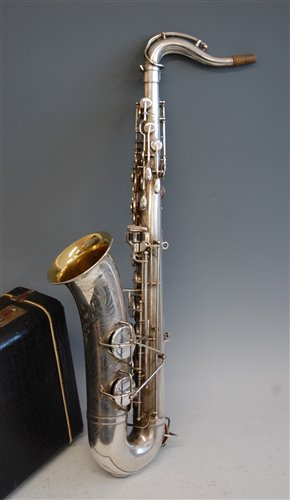 Lot 508-A cased silver plated tenor saxophone , Martin...