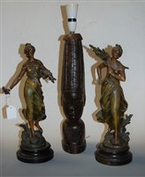 Lot 2-After Moreau - a pair of French spelter figures...