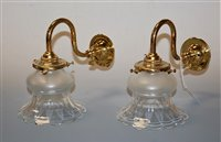 Lot 4-A pair of lacquered brass single sconce wall...