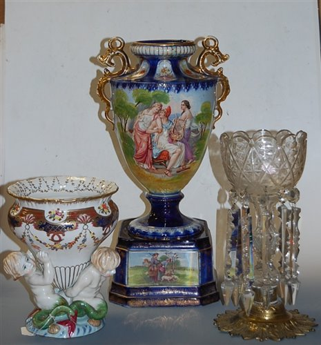 Lot 5-A late 19th century clear glass pedestal lustre,...