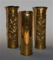 Lot 9-A pair of World War One trench art shell case...