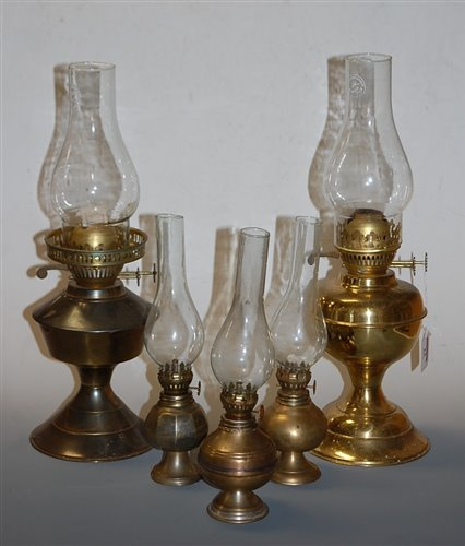Lot 14-An early 20th century brass pedestal oil lamp;...