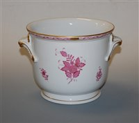 Lot 18-A Herend porcelain cache-pot, painted with pink...