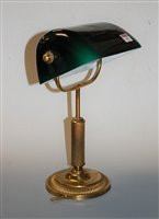 Lot 19-A lacquered brass desk lamp, with adjustable...