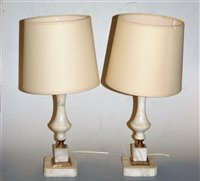 Lot 14-A pair of onyx and brass mounted table lamps with ...