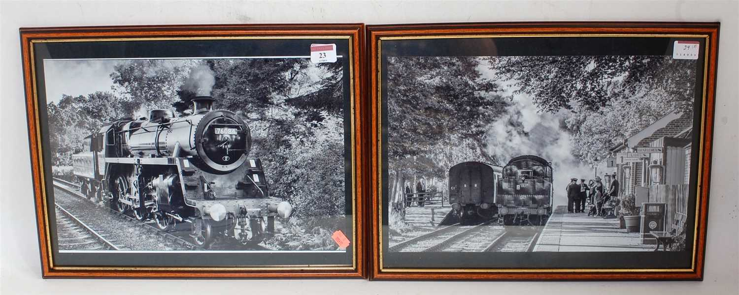 Lot 23-Pair black and white framed and glazed photos...
