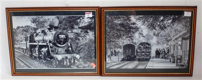 Lot 29-Pair black and white framed and glazed photos...