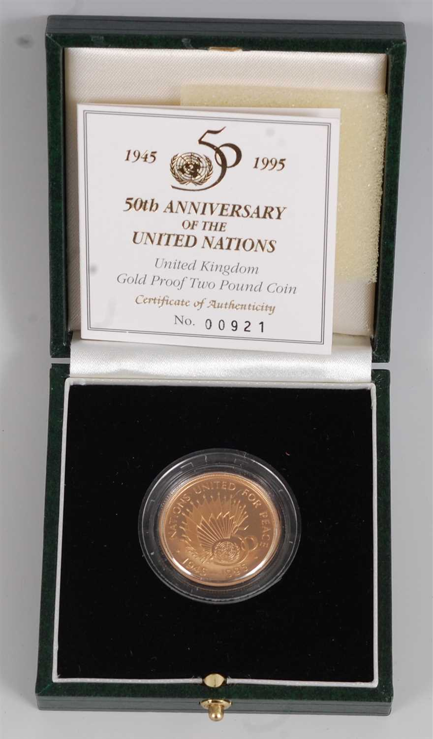 Lot 2043-Great Britain, a cased gold proof two-pound coin, ...