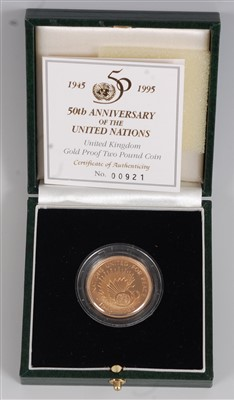 Lot 2043-Great Britain, a cased gold proof two-pound...