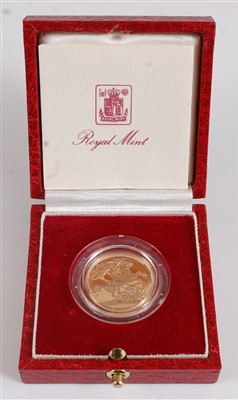 Lot 2044-Great Britain, a cased 1983 gold proof sovereign, ...