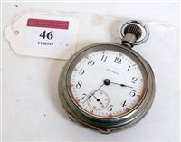 Lot 46-A silver plated Waltham open faced railway pocket ...