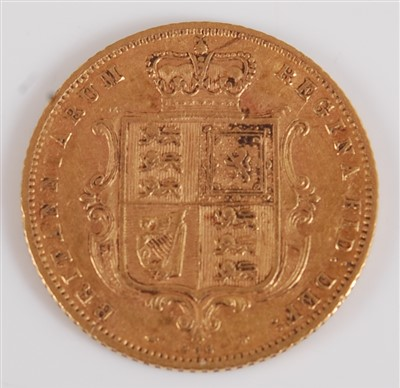 Lot 2038-Great Britain, 1873 gold half sovereign, Victoria ...
