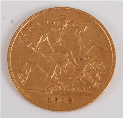 Lot 2040-Great Britain, 1912 gold half sovereign, George V,...