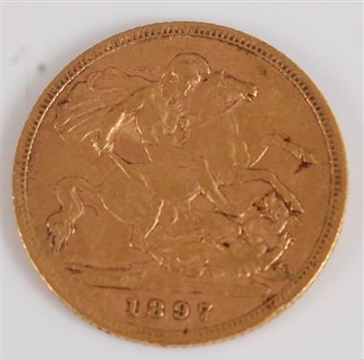 Lot 2042-Great Britain, 1897 gold half sovereign, Victoria ...