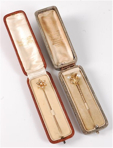 Lot 2502-Two cased pearl stick pins, the first with two...