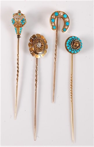 Lot 2513-Four gemset stick pins: a seed pearl and...