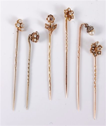 Lot 2523-Six stick pins: to include a 9ct seed pearl and...