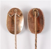 Lot 2532-Two late 19th century mourning stick pins: an...