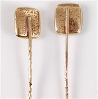 Lot 2534-Two 19th century mourning stick pins: a mourning...