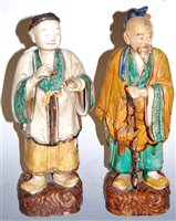 Lot 1-A Chinese terracotta figure of a sage in standing ...