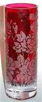 Lot 5-A large cranberry glass vase, of cylindrical form,...
